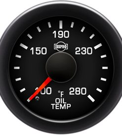 Oil Temp 100-280 F Red Pointer  Black Face  White Letters (Green When Lit)  Black Bezel