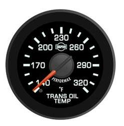 Transmission Oil Temp 140-320 F Red Pointer  Black Face  White Letters (Green When Lit)  Black Bezel