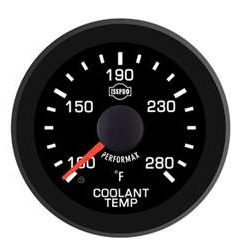 Coolant Temp 100-280 F Red Pointer  Black Face  White Letters (Green When Lit)  Black Bezel